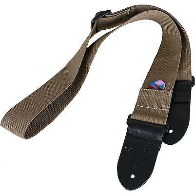Protec Guitar Strap featuring Thick Leather Ends and Pick Pocket Tan