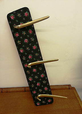 Authentic Vintage Floral Wall Hanging Coat Hook Rack - Circa 1950s