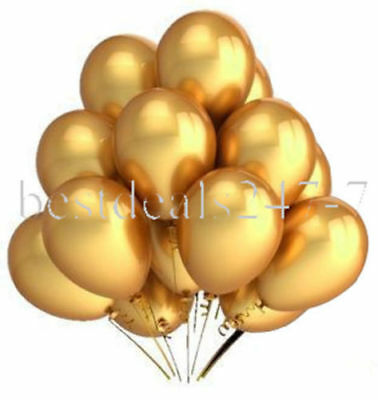 """New 15 x Gold Metallic Large 9"""" Inch Party Wedding Helium Quality Balloons"""