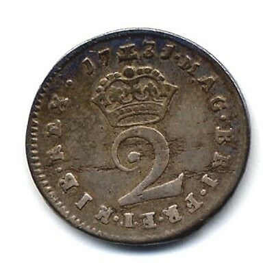 1731 Maundy Twopence, Superb & Rare, George II Silver, Great Britain, UK