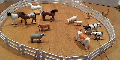 Lot 22 pc Fence & 13 Toy Farm Animals - Cows, Chickens, Pigs, Horses Sheep CLEAN
