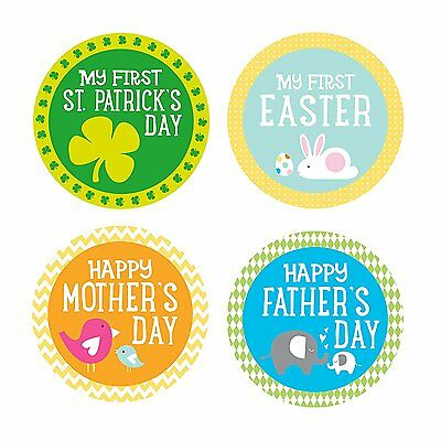 Pearhead Baby Holiday Belly Stickers with 14 Holidays Included, Multi