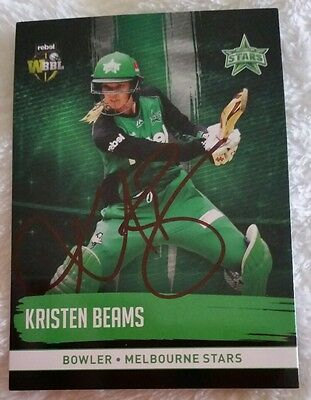 """KRISTEN BEAMS CRICKET SIGNED IN PERSON Tap n play BBL CARD """"BUY GENUINE"""""""