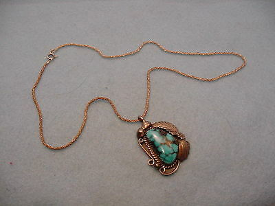 Vintage Sterling & Turquoise Stone Necklace Artist Signed