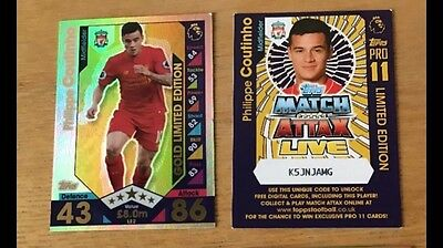 Match Attax 16/17 Philippe Coutinho Gold And Pro Limited Edition