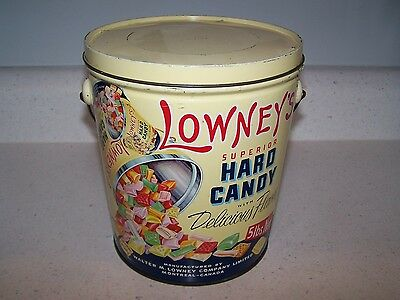 Vintage Lowney's 5 Lb. Hard Candy Tin / Pail With Cover And Bail Handle - Yellow
