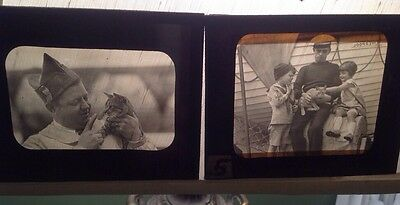 Magic Lantern Glass Slide Photo Soldiers  Military w / Cats Children  Lot Of 2
