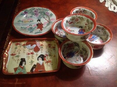 Lot Antique Japanese Tea Cup Porcelain Signed Tray Plate 5 Cups
