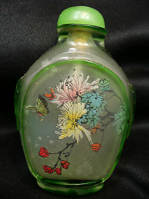 Antique Chinese Reverse Painted Glass Snuff Bottle with Butterfly Motif