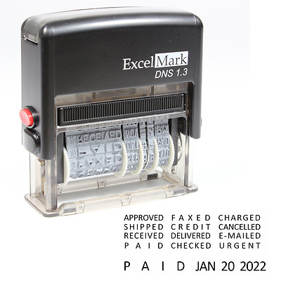 ExcelMark Self-Inking Stock Message Date Stamp – DNS 1.3 (Black Ink)