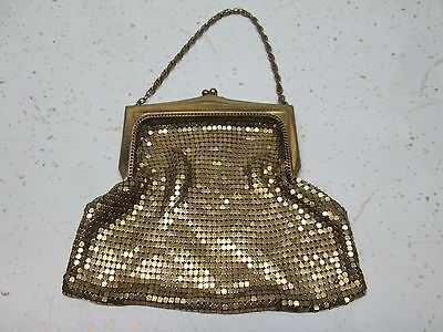 Vintage Whiting & Davis Gold Metal Mesh Clutch Purse Small Evening Bag