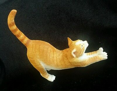 Cat - Figurine Ornament - Ginger Tabby Stretching - Country Artist