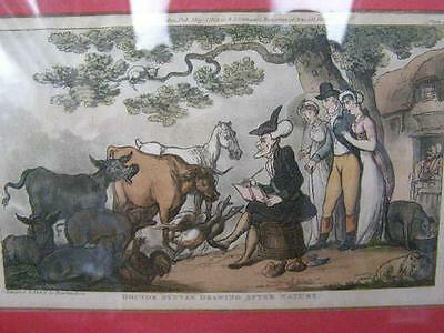 ANTIQUE COLOURED ETCHING c1890 DR SYNTAX ROWLANDSON  PRINT FRAMED PAINTINGS