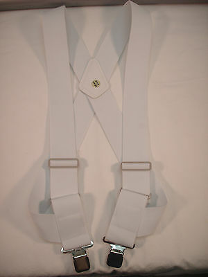 """New, Men's, White, Side Clip Suspenders / Braces, XL, 2"""", Adj.  Made in the USA"""