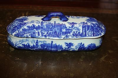 Ironstone Flow Blue Village Covered Lid Divided Dish Relish Reproduction