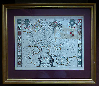 J Blaeu map of Oxfordshire c1646 framed ready to hang