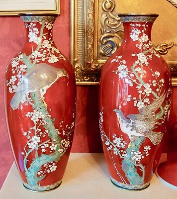 Large Stunning Japanese Red/rouge Cloisonne Vases With Eagles/falcons 13.5 Inch