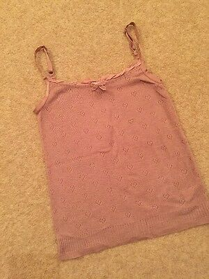 Girls Vest Top Jigsaw Junior Size Large 8 To 9 Years. Dusky Pink