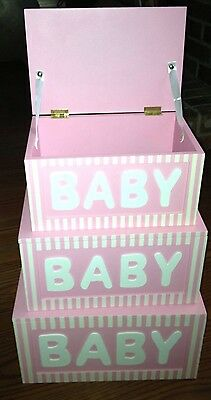 Set Of 3 Large Wooden Nesting Boxes  For Baby Girl! Hinged Lids! *RARE *HTF