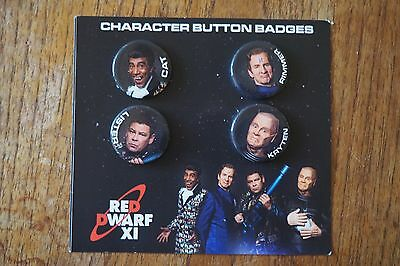 Red Dwarf Pin Badges x4 OFFICIAL merchandise promotional item - on card backing