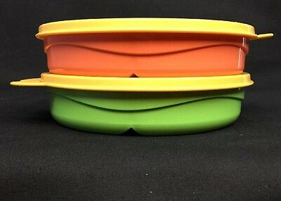 Tupperware 2 baby toddler child feeding divided dishes w handle seals microwave