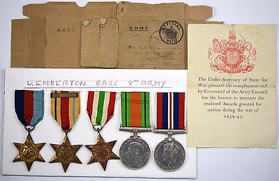 5 WW2 Medals 1939-45, Africa, Italy Stars, 8th Army Bar, War And Defence Medals
