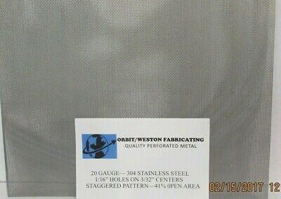 "20 GAUGE 304 STAINLESS PERFORATED SHEET 1/16 HOLES ON 3/32 CENTERS-- 4"" x 6"""