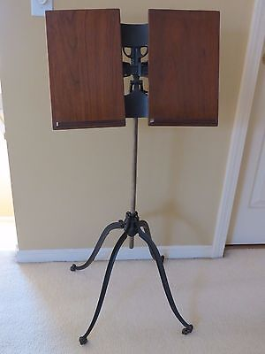 Antique R M. Lambie Adjustable Cast Iron & Wood Book or Music Stand Pat 1885