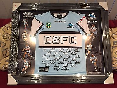 2013 Cronulla Sharks Official Club Signed Framed Jersey