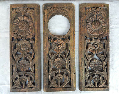 Old 1850's Craved Vintage Indian Antique Rare Wooden Wall Hanging Decor Panel 3P
