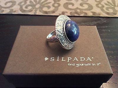 $104 Silpada Lapis & Sterling Silver Statement Ring Size 8 Stunning!  R3270