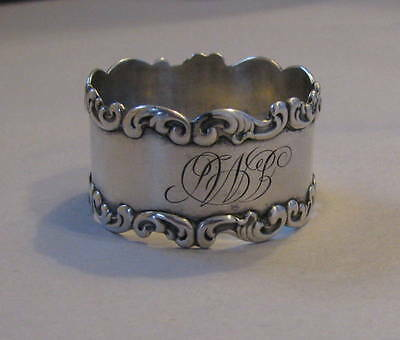 STERLING Scrolled Repousse Napkin Ring With Fancy Script Mono Mint!