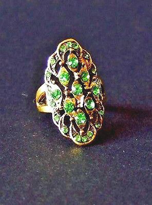 Art Deco Style Gold Tone Ring With Green Rhinestones Size 5.5