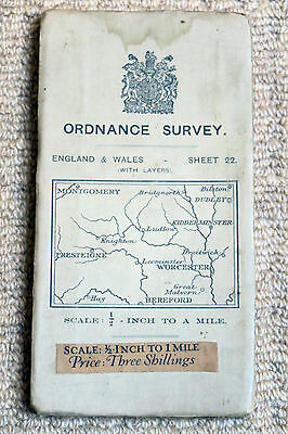 """Ordnance Survey 1/2"""" Map of Worcester & Ludlow, Sheet 22, on cloth 1913"""