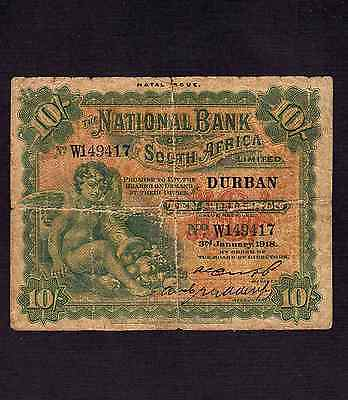 South Africa, 10 Shillings 1918, P-S391 * Overptint: NATAL *