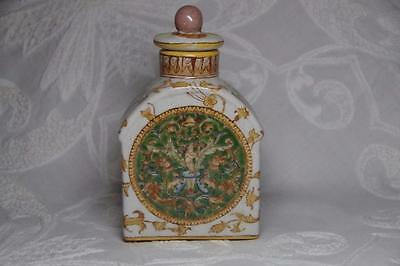Antique Chinese Export Tea Caddy Ornate Cupid Design Green Yellow