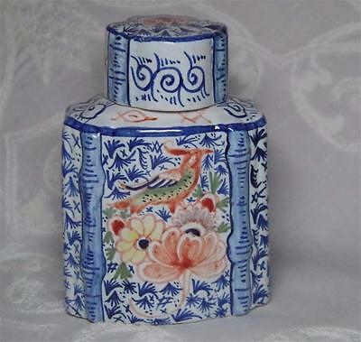 Antique Delft Polychrome Tea Caddy Flowers Birds Chinese Export?