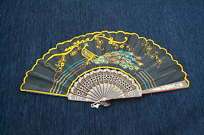 Vintage Fan With Embroidered Peacock