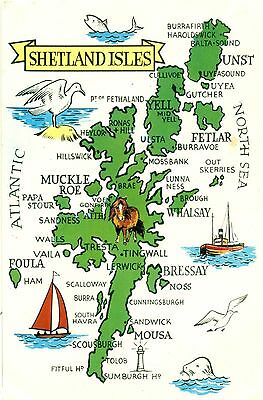 Shetland map postcard used Kirkwall 1965
