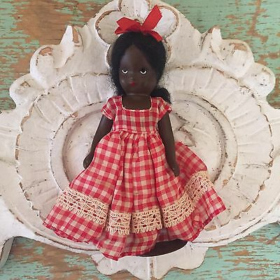 Black Nancy Ann Doll TOPSY Jointed Arms Legs Swivel Head With Stand Excellent