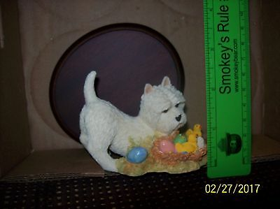 White Westie & Chicks #237 with base, B.L.S. Sculptures, Easter, Made in England