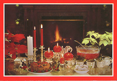 Vintage Hallmark Christmas Card: Punch Bowl by the Fireplace