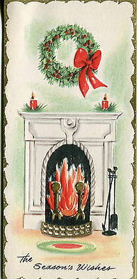 Vintage Christmas Card: Fireplace with Wreath