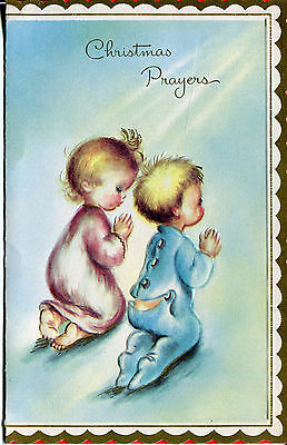 Vintage Christmas Card: Children Praying with Gold Accents..