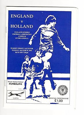 England v Holland Under-18 Schools 1992 at Leicester City FC