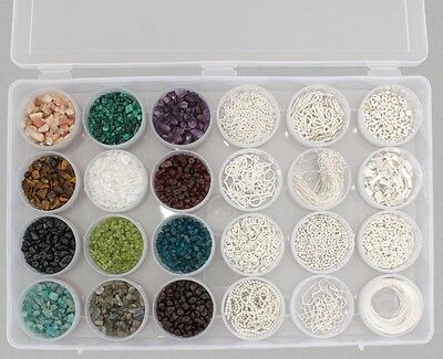 Multi Gemstones 2010cts Silver Plated Findings Kit 1640pcs Jewellery Maker