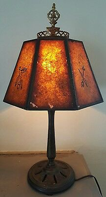 Attributed To Oscar Bach Table Lamp Mica Shade Arts & Crafts  Boudoir Floor