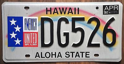 Hawaii 911 Remembrance Rainbow Aloha State Authentic License Plate #DG526