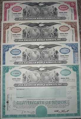 4-Pan American World Airways, Inc. Stock Certificates/different Colors