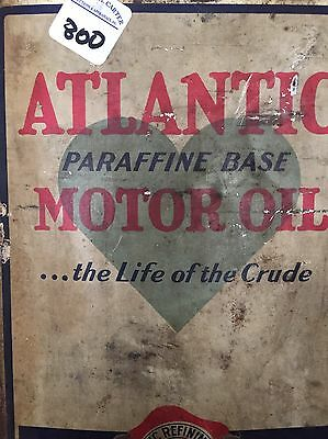 Vintage Atlantic Motor Oil 5 Gallon Square Oil Can Metal Petroliana Collectible
